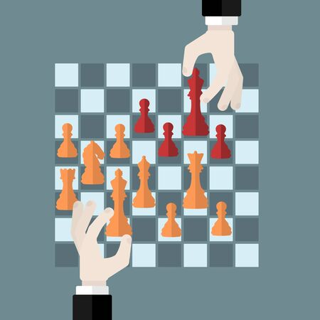 chess game: Flat design modern vector illustration concept of chess game strategy with isolated hands holding chess pieces over chessboard