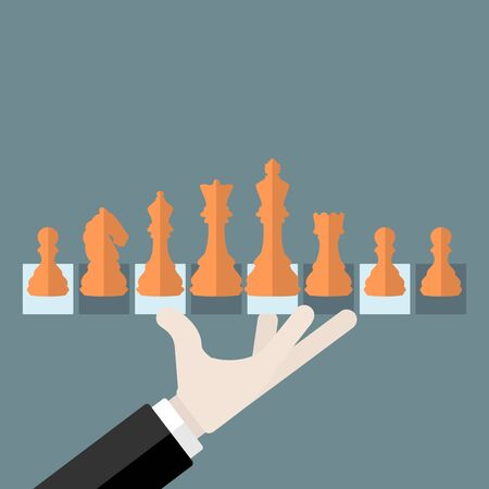 Flat design modern vector illustration concept of chess pieces with isolated king, queen, bishop, rook, knight and pawn Illustration