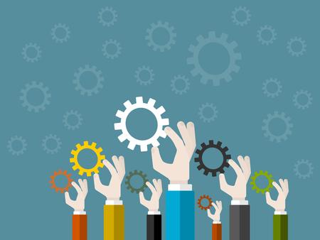 sinergia: Concepto de sinergia de negocios. Ilustraci�n Dise�o plano
