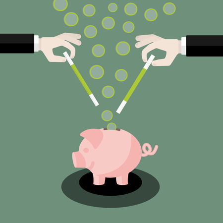 Flat design modern illustration concept of money with isolated hands holding magic wand and piggy bank