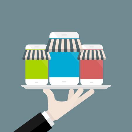 携帯電話のアプリ ストア ベクトル図  イラスト・ベクター素材