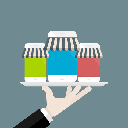 Mobile phone apps store vector illustration