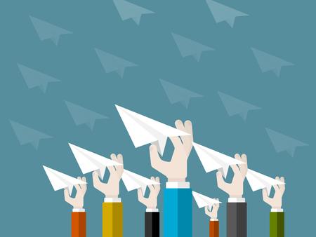 Design plat illustration moderne concept de démarrage avec les mains isolés de lancement des avions en papier