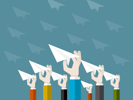 Flat design modern illustration concept of start up with isolated hands launching paper planes