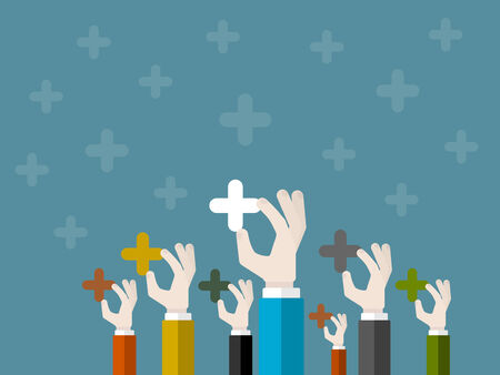 evaluating: Flat design modern illustration concept of appreciation with isolated hands holding plus marks