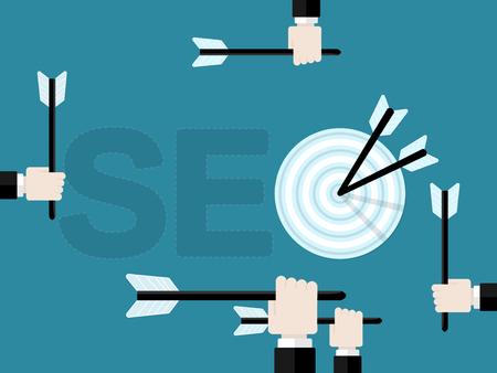 検索エンジン最適化 SEO のターゲットと矢印を押し手のフラットなデザイン現代ベクトル図の概念