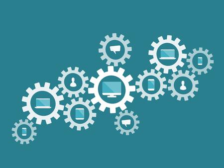 歯車機構およびコンピューター エレクトロニクスとインターネットのフラット デザイン モダンなベクトル図コンセプト  イラスト・ベクター素材