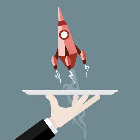 フラットなデザインはロケットのイラストを起動します。