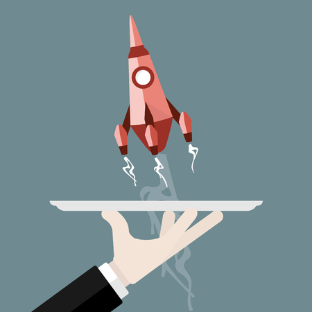 Flat design start up illustration with rocket Illustration