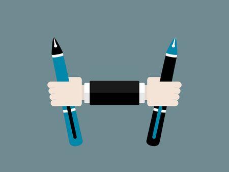 フラットなデザイン現代ベクトル図分離ペンと教育観
