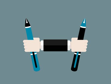 Flat design modern vector illustration concept of education with isolated pens