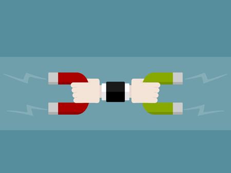 磁石の分離とアトラクションのフラットなデザイン モダンなベクトル イラスト コンセプト