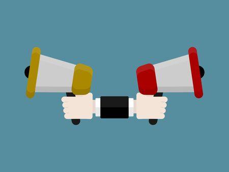 Flat design modern vector illustration concept of digital marketing with isolated bullhorns