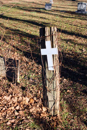 fencepost: Cross Tied to a Fencepost Stock Photo