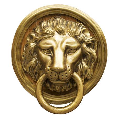 manipular: Cabeza de león Golpeador de puerta, aldaba antigua