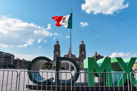 Mexico City, Mexico; April 26 2020: Zocalo square and metropolitan cathedral in the historic center of Mexico City closed during Coronavirus outbreak.
