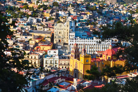 Guanajuato Mexico view during noon, colorful houses and historic buildings. Redakční