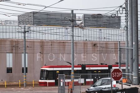 Toronto, ON Canada 12/27/19: TTC streetcar depot and yard off Roncesvalles Avenue. Sajtókép