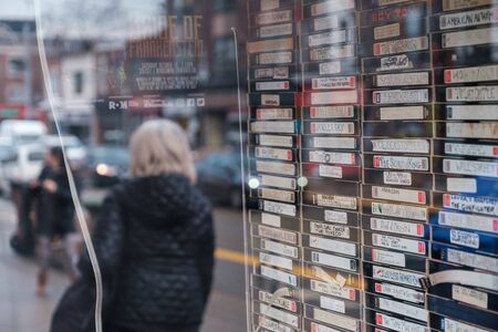 Toronto, ON Canada 12/27/2019: Stack of VHS tapes in store window in the Roncesvalles neighbourhood. Sajtókép