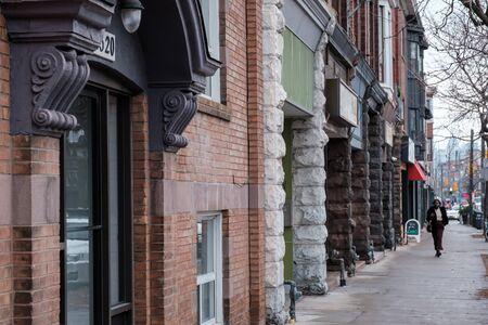 Toronto, ON Canada 12/27/2019: Little Portugal street scene of storefronts. Sajtókép