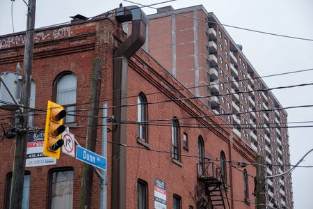Toronto, ON Canada 12/27/2019: Gritty Parkdale apartment building.