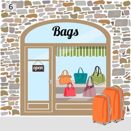 Bag-Shop Gebäude Fassade aus Stein. Verschiedene Frau Taschen im Shop window.Vector Illustration eps 10. Vektorgrafik