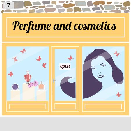 Negozio di cosmetici. Bottiglie di profumo nella finestra del negozio. Pittore di una giovane donna sorridente con i capelli lunghi sulla finestra. Illustrazione vettoriale eps 10. Vettoriali