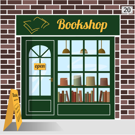 bookshop: Bookshop building facade of brown brick. A row of books in the window. EPS 10 vector.
