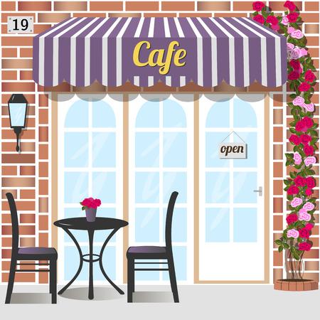 赤レンガの正面の建物のカフェ。テーブルと椅子と前面。  登山は、ドアの近く上昇しました。ベクトル イラスト eps 10。  イラスト・ベクター素材