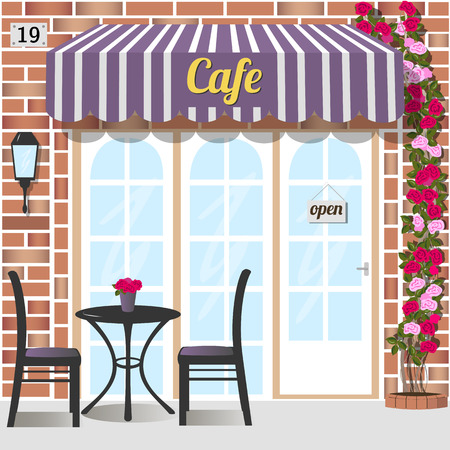 Cafe building facade of red brick. Table and chairs at the fore.   Climbing rose near the door. Vector illustration eps 10. Çizim