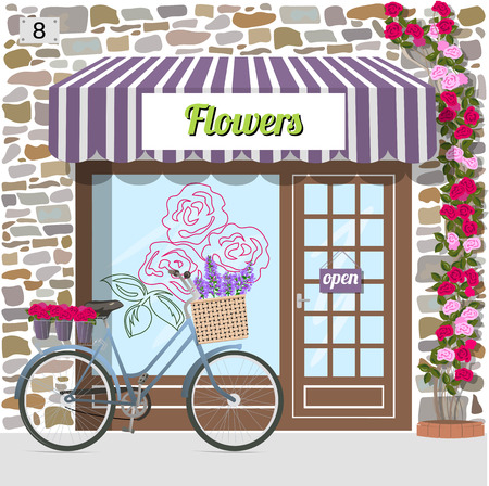 frontdoor: Flower shops building facade of stone. Bicycle with flowers in a basket. Rose sticker on the window. Climbing rose near the door. Vector illustration eps 10. Illustration