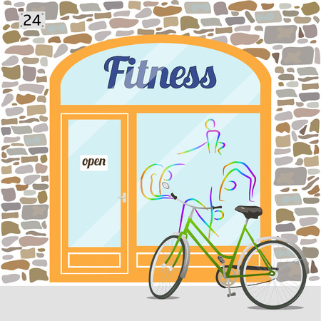 facade building: Fitness club building. Facade of stone. Fitness logo on the window. Bike at the fore. EPS10