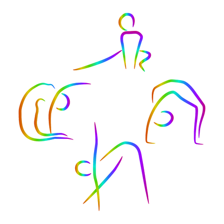 sport woman: Simple woman silhouettes in different poses. Vector logo concept illustration for fitness center, sport club, health center etc. Vector illustration symbol. Human icon. Design element. EPS10