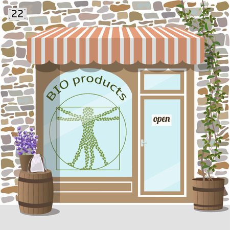 awnings windows: Bio products shop building. Facade of stone. Plant and barrel with lavender on it at the fore. Vector illustration EPS10