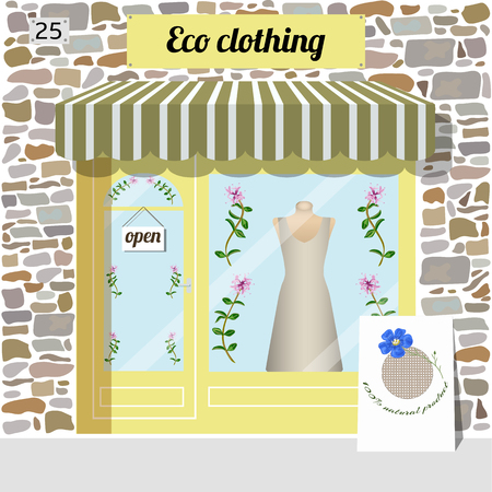 awnings: Eco clothing shop building. Facade of stone. Dress in the window. Vector illustration EPS10