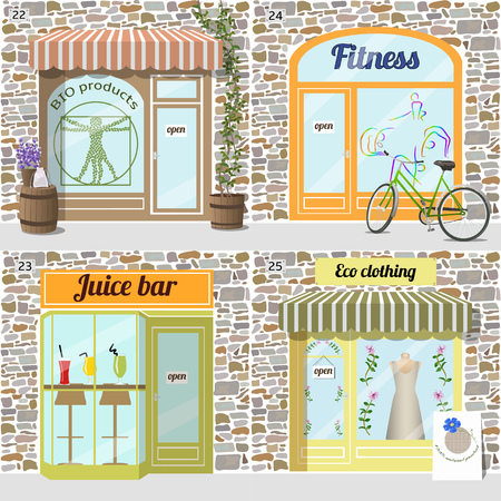 awnings: Set of buildings healty lifestyle set.Bio products shop. Eco clothing shop.  Dress in the window. Fresh juice bar building. Fitness center. Bike at the fore. Facade of stone.EPS10 Illustration