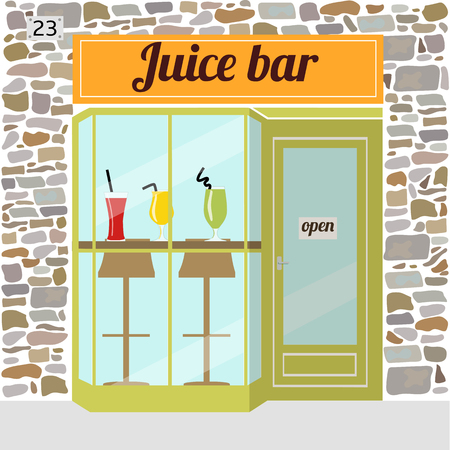 Fresh juice bar building. Facade of stone. Bar stools and shakes in glasses in the window. EPS10