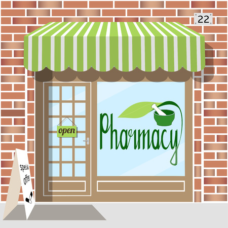 frontdoor: Pharmacy facade of red brick. Sticker with pharmacy symbol in the window. EPS 10 vector.