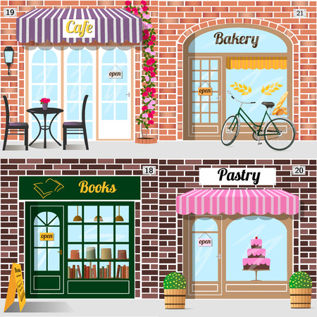 Table and chairs and climbing rose at the fore of cafe. Bicycle with bread in basket. at the fore of bakery. A row of books in the bookshop window.  A big cake in the pastry window. Building facade of brick. Vector illustration eps 10.