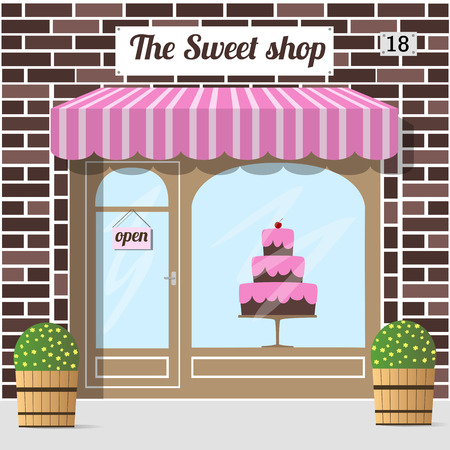 Sweet shop's building facade of red brick. A big cake in the shop window. EPS 10 vector.