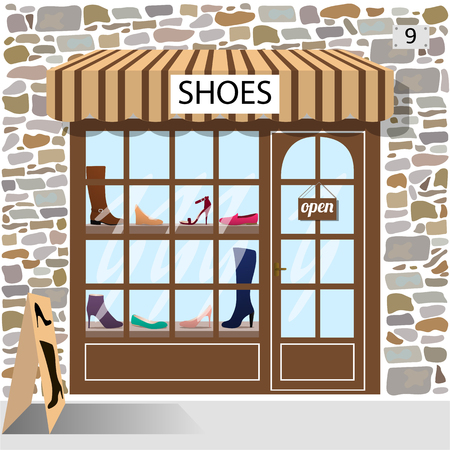 awnings: Shoes shop building facade of stone. Shoes and boots in the shop window.Vector illustration eps 10.