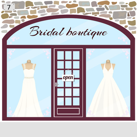 dummies: Wedding shop building facade of stone. Dummies in bridal dresses in the shop window.Vector illustration eps 10.