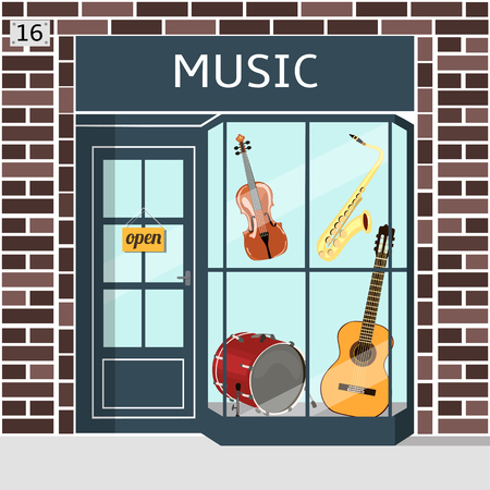 stage door: Music shops building facade of brown brick. Violin, guitar, saxophone and drum in the window. EPS 10 vector. Illustration