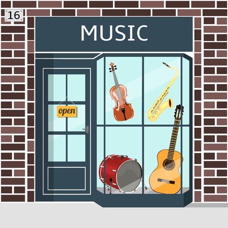 Music shop's building facade of brown brick. Violin, guitar, saxophone and drum in the window. EPS 10 vector. Vektoros illusztráció