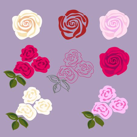 rose tattoo: Set of rose flowers. Flat disign for sticker, tattoo etc.