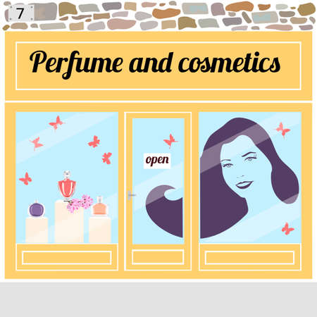 frontdoor: Beauty shop. Perfume bottles in the shop window.Sticker of a young smiling woman with long hairs on the window. Vector illustration eps 10.