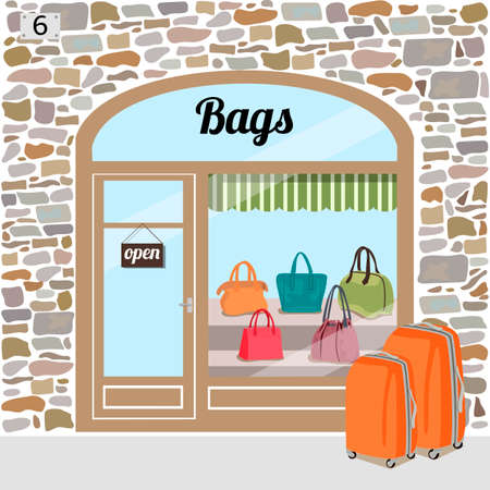 exhibit houses: Bag shops building facade of stone. Different woman bags in the shop window.Vector illustration eps 10.