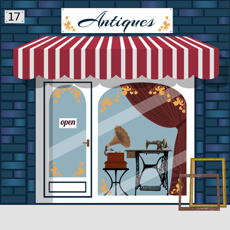 Antique shop facade. Gramophone and sewing maching in the window. Blue brick building. Vector illustration. Stock Photo