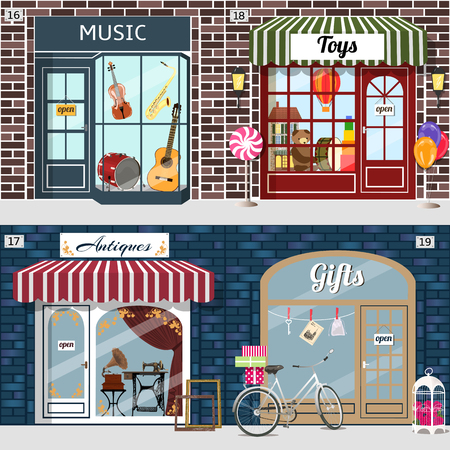 Gramophone and sewing maching in the antique shop window. Bike with gift boxes in basket and birdcage with roses at the fore of gifts shop .Violin, guitar, saxophone and drum in the music shop window. Doll house, bear, balloon and drum in the toys shop wi