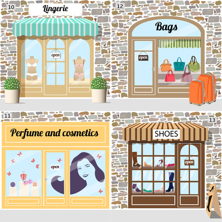 Mannequins in blue and pink underwear cloth in the lingerie shop window. Perfume bottles and sticker of a young smiling woman on the beauty shop window. Shoes and boots in the shoe shop window.Different woman bags in the bags shop window.Building facade o Vectores